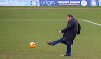 Bill Turnbull takes a penalty During BBC Breakfast as they air their live broadcast on Tuesday morning, presented by Bill Turnbull for his penultimate appearance on the programme at Adams Park, High Wycombe, England on 23 February 2016. Photo by Andy Rowland.