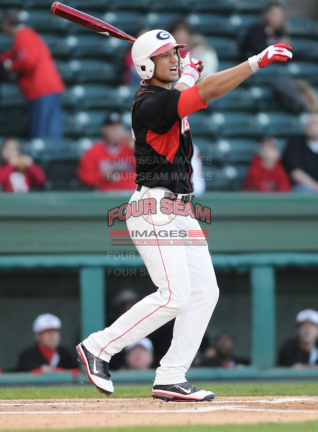 Outfielder Zach Cone (12) of the Georgia Bulldogs in a game against the Furman Paladins on Wednesday, March 2, 2011, at Fluor Field in Greenville, S.C. Cone is Baseball America's No. 40 college prospect for the 2011 season. Photo by Tom Priddy / Four Seam Images