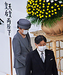 Japan's Emperor Naruhito and Empress Masako (L) wearing face masks attend the memorial service for the war dead of World War II marking the 75th anniversary in Tokyo, Japan on August 15, 2020. (Photo by AFLO)