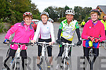 Patricia Tyther Killorglin, Mary O'Doherty killarney, Kathleen Clifford Killorglin and Aine O'Connell Caherciveen  ready for road at the Cycle for Crumlin Childrens Hospital in Killorglin on Sunday