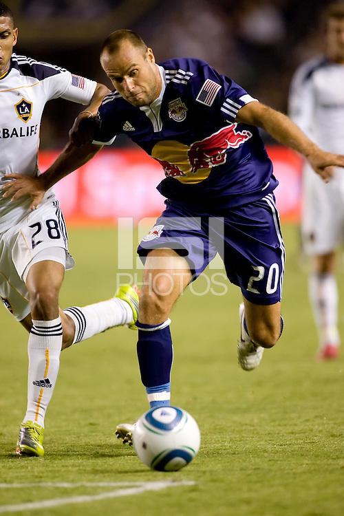 Joel Lindpere forward of the New York Red Bulls chasing a loose ball. The New York Red Bulls beat the LA Galaxy 2-0 at Home Depot Center stadium in Carson, California on Friday September 24, 2010.