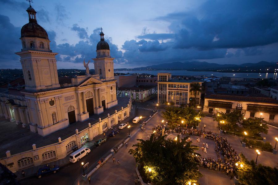 Plaza de dolores and church of Los dolores in santiago de cuba