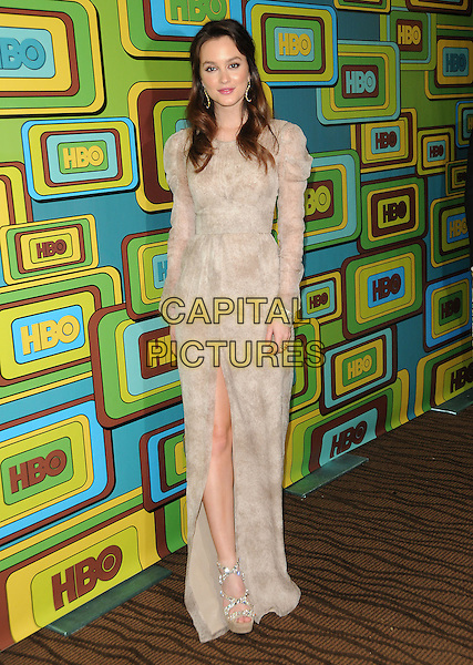 LEIGHTON MEESTER.The HBO's Post Golden Globes Party held at The Beverly Hilton Hotel in Beverly Hills, California, USA..January 16th, 2011.full length beige sheer dress cream long sleeves slit split .CAP/RKE/DVS.©DVS/RockinExposures/Capital Pictures.