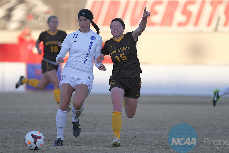 05 NOV 2013: Boise State takes on Wyoming during Game 3 of the Mountain West Conference Women's Soccer Championship held at the UNM Soccer Complex in Albuquerque, NM. Boise State advanced to the third round by way of a 3-0 win. (Juan Labreche/NCAA Photos)