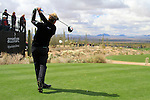 Luke Donald (ENG) tees off on the 1st tee to start of Finals Day 5 of the Accenture Match Play Championship from The Ritz-Carlton Golf Club, Dove Mountain, Sunday 27th February 2011. (Photo Eoin Clarke/golffile.ie)