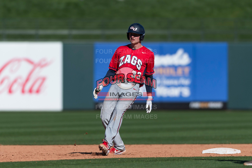 Gonzaga Bulldogs catcher Slade Heggen (33) holds at second base after hitting a double during a game against the Oregon State Beavers on February 16, 2019 at Surprise Stadium in Surprise, Arizona. Oregon State defeated Gonzaga 9-3. (Zachary Lucy/Four Seam Images)