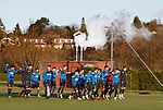 Rangers players training this morning