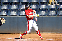 GREENSBORO, NC - FEBRUARY 22: Drew Westford #9 of Fairfield University hits the ball during a game between Fairfield and North Carolina at UNCG Softball Stadium on February 22, 2020 in Greensboro, North Carolina.