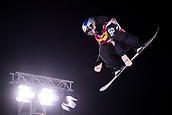 2nd December 2017, Moenchengladbach, Germany;  Miyabi Onitskuka from Japan jumping off the kicker during the men's finals of the Snowboard World Cup at the SparkassenPark in Moenchengladbach, Germany, 2 December 2017.