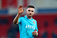 Lewis Coyle of Fleetwood Town applauds the fans after the Sky Bet League 1 match between Doncaster Rovers and Fleetwood Town at the Keepmoat Stadium, Doncaster, England on 17 February 2018. Photo by Leila Coker / PRiME Media Images.