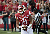 NWA Democrat-Gazette/CHARLIE KAIJO Arkansas Razorbacks running back Devwah Whaley (21) reacts following a score in the first half during a football game on Saturday, November 4, 2017 at Razorback Stadium in Fayetteville
