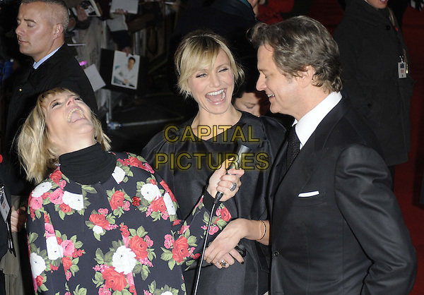 Edith Bowman, Cameron Diaz & Colin Firth.'Gambit' world film premiere Empire cinema, Leicester Square, London, England..7th November 2012.half length top black suit shirt tie pink white floral print green red jacket high collar polo neck turtleneck top microphone interview smiling laughing mouth open side profile funny.CAP/CAN.©Can Nguyen/Capital Pictures.