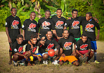 """A soccer team shows off uniforms presented by RARE Conservation. The shirts read: """"If fish are finished, what will we eat?"""""""