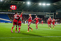 Wednesday 4th  December 2013 Pictured: Hal Robson-Kanu of Wales  Celebrates with his team mates  after his first half goal <br /> Re: UEFA European Championship Wales v Cyprus at the Cardiff City Stadium, Cardiff, Wales, UK