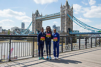 LONDON, ENGLAND 19 APRIL, Tigist Tufa _ Tirunesh Dibaba _ Mare Dibaba (Ethiopia) attend Virgin Money London Marathon Elite Women's photocall at Westminster, London UK 19th April 2017<br /> CAP/PP/GM<br /> &copy;GM/PP/Capital Pictures