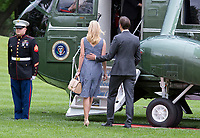 Jared Kushner and Ivanka Trump board Marine One to join United States President Donald J. Trump as they depart the White House in Washington, DC  for a trip to New York City on Thursday, May 4, 2017.<br /> Credit: Ron Sachs / CNP /MediaPunch