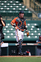Baltimore Orioles catcher Ben Breazeale (79) during an Instructional League game against the Atlanta Braves on September 25, 2017 at Ed Smith Stadium in Sarasota, Florida.  (Mike Janes/Four Seam Images)