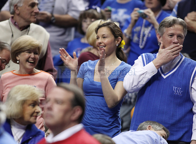 UK Alum Ashley Judd cheers during the second half of the UK mens basketball team's 73-67 win over Alabama in the quarterfinals of the SEC tournament at the Sommet Center Friday, March 12, 2010. Photo by Britney McIntosh | Staff