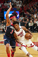Jimmy Butler (G/F Miami Heat, #22) gegen Bradley Beal (G, Washington Wizards, #3) - 22.01.2020: Miami Heat vs. Washington Wizards, American Airlines Arena