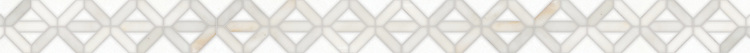 """2 7/8"""" Joie border, a handmade mosaic shown in honed Thassos and polished Calacatta by New Ravenna."""