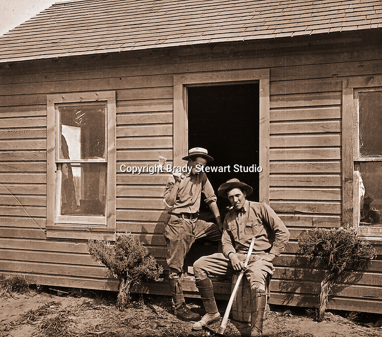 Jerome ID:  Landscaping on the 160 acre estate - 1909.  Brady Stewart and three friends went to Idaho on a lark from 1909 thru early 1912. As part of the Mondell Homestead Act, they received a land grant of 160 acres north of the Snake River.  As part of the land grant, there was an old farmhouse that was in dire need of repair.  For 2 ½  years, Brady Stewart photographed the adventures of farming along with the spectacular landscapes.