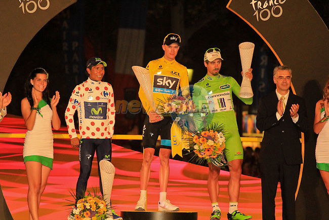 Christopher Froome (GBR) Sky Procycling overall winner the Yellow Jersey and the 2013 Tour de France, 2nd place with Polka Dot and White Jerseys Nairo Alexander Quintana (COL) Movistar Team and Green Jersey Points winner Peter Sagan (SVK) Cannondale on the podium at the end of the Final Stage 21 of the 100th Edition of the 2013 Tour de France from Versailes to Paris Champs-Elysees. 21st July 2013.<br /> (Photo:Thomas van Bracht / Peloton Photos/www.newsfile.ie)