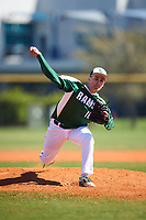 Farmingdale State Rams relief pitcher Kenneth Simco (10) delivers a pitch during the first game of a doubleheader against the FDU-Florham Devils on March 15, 2017 at Lake Myrtle Park in Auburndale, Florida.  Farmingdale defeated FDU-Florham 6-3.  (Mike Janes/Four Seam Images)