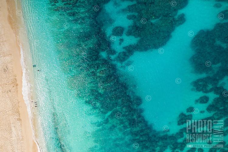 Aerial view of Mokule'ia Beach, North Shore of O'ahu.