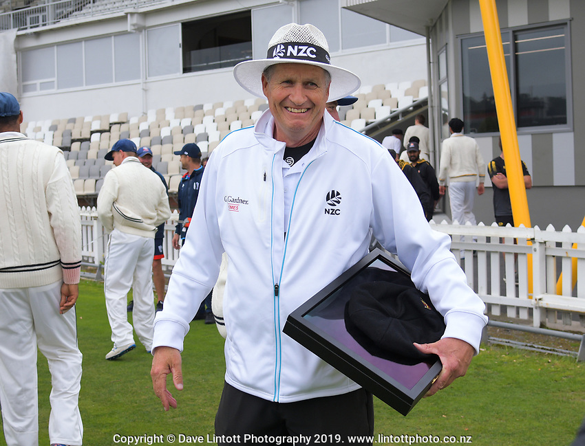 Umpire Tim Parlane is recognised for his 100th match during day one of the Plunket Shield cricket match between the Wellington Firebirds and Auckland at Basin Reserve in Wellington, New Zealand on Friday, 8 November 2019. Photo: Dave Lintott / lintottphoto.co.nz