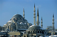 Minarets and dome roof of the Suleymaniye Mosque, an Ottoman imperial mosque in Istanbul, Turkey.