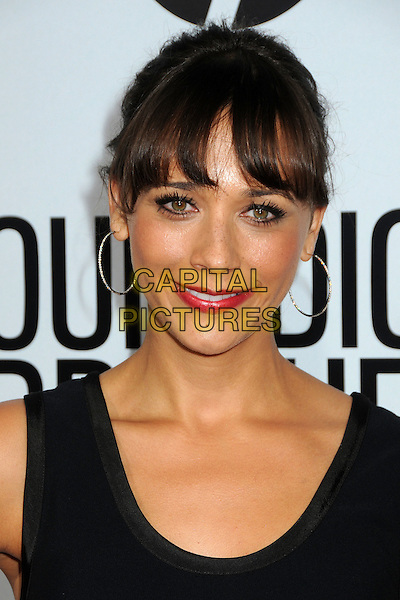 "Rashida Jones.""Our Idiot Brother"" Los Angeles Premiere held at Arclight Cinemas, Hollywood, California, USA..August 16th, 2011.headshot portrait black sleeveless gold hoop earrings red lipstick .CAP/ADM/BP.©Byron Purvis/AdMedia/Capital Pictures."