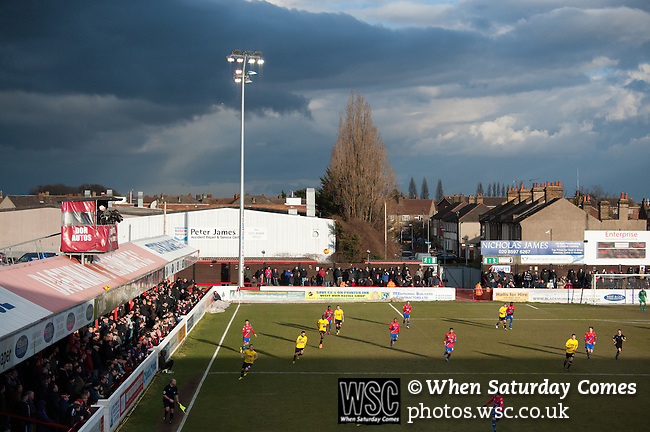 Dagenham and Redbridge 1 Burton Albion 3, 21/02/2015. Victoria Road, League Two. View from the Traditional Builders Stand where the away support are situated. Burton Albion moved to the top of League Two following a hard-fought win over Dagenham & Redbridge played in-front of 1,718 supporters. Photo by Simon Gill.