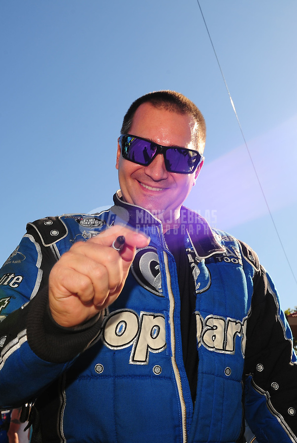 Oct. 16, 2011; Chandler, AZ, USA; NHRA top fuel dragster driver Brandon Bernstein during the Arizona Nationals at Firebird International Raceway. Mandatory Credit: Mark J. Rebilas-