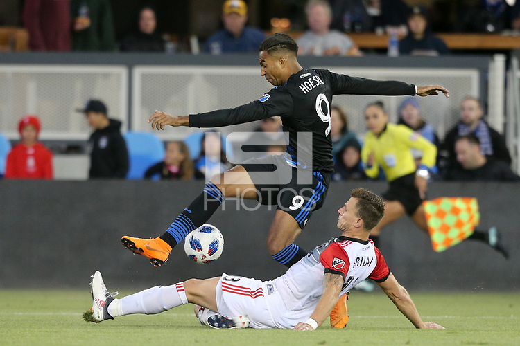 San Jose, CA - Saturday May 19, 2018: Danny Hoesen, Steven Birnbaum during a Major League Soccer (MLS) match between the San Jose Earthquakes and D.C. United at Avaya Stadium.