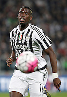 Calcio, Serie A: Juventus vs Lazio. Torino, Juventus Stadium, 20 aprile 2016.<br /> Juventus&rsquo; Paul Pogba runs for the ball during the Italian Serie A football match between Juventus and Lazio at Turin's Juventus Stadium, 20 April 2016.<br /> UPDATE IMAGES PRESS/Isabella Bonotto