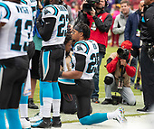 Carolina Panthers strong safety Eric Reid (25) kneels as the National Anthem is played prior to the game against the Washington Redskins at FedEx Field in Landover, Maryland on October, 2018.<br /> Credit: Ron Sachs / CNP