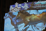 February 3, 2019, Sapporo, Japan - A projection mapping is cast on a large snow sculpture of horse racing displayed at the 70th annual Sapporo Snow Festival in Sapporo in Japan's nortern island of Hokkaido on Sunday, February 3, 2019. The week-long snow festival will open on February 4 through February 11 and over 2.5 million people are expecting to visit the festival.   (Photo by Yoshio Tsunoda/AFLO) LWX -ytd-