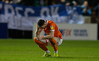 Blackpool's James Husband reacts after the final whistle<br /> <br /> Photographer Alex Dodd/CameraSport<br /> <br /> The EFL Sky Bet League One - Blackpool v Tranmere Rovers - Tuesday 10th March 2020 - Bloomfield Road - Blackpool<br /> <br /> World Copyright © 2020 CameraSport. All rights reserved. 43 Linden Ave. Countesthorpe. Leicester. England. LE8 5PG - Tel: +44 (0) 116 277 4147 - admin@camerasport.com - www.camerasport.com