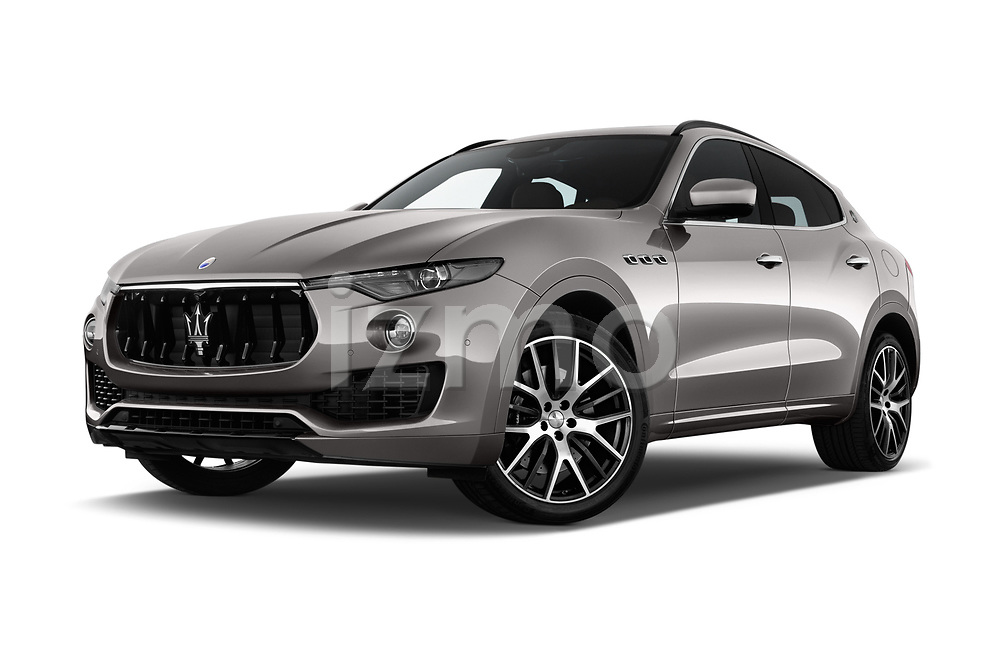 Stock pictures of low aggressive front three quarter view of a 2018 Maserati Levante Base 5 Door SUV