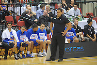 Saints coach Pero Cameron takes stock during the national basketball league match between Wellington Saints and Manawatu Jets at TSB Bank Arena, Wellington, New Zealand on Tuesday, 7 May 2013. Photo: Dave Lintott / lintottphoto.co.nz