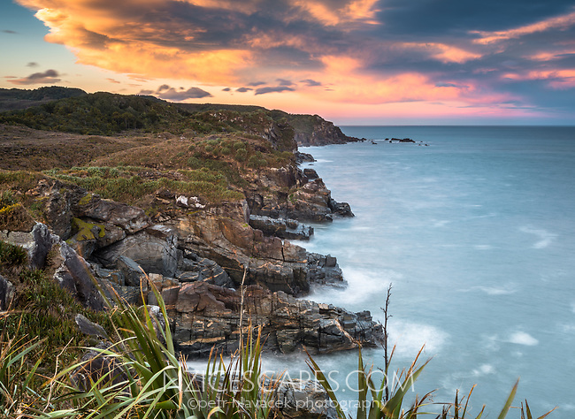 Sunrise over wild and remote coastline near Charleston near Westport, Buller region, West Coast, New Zealand, NZ