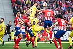 Rodrigo Hernandez, Jose Maria Gimenez and Saul Niguez of Atletico de Madrid and Carlos Arturo Bacca and Funes Mori of Villareal CF during La Liga match between Atletico de Madrid and Villareal CF at Wanda Metropolitano in Madrid Spain. February 24, 2018. (ALTERPHOTOS/Borja B.Hojas)