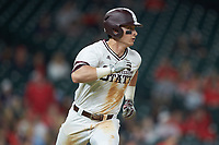 Justin Foscue (17) of the Mississippi State Bulldogs hustles down the first base line against the Houston Cougars in game six of the 2018 Shriners Hospitals for Children College Classic at Minute Maid Park on March 3, 2018 in Houston, Texas. The Bulldogs defeated the Cougars 3-2 in 12 innings. (Brian Westerholt/Four Seam Images)