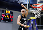 SIOUX FALLS, SD: MARCH 12:  Morgan Fleming #22 of Central Missouri gets her piece of the net after defeating  Augustana during the 2018 NCAA Division II Women's Basketball Central Region Championship at the Elmen Center in Sioux Falls, S.D.  (Photo by Dick Carlson/Inertia)