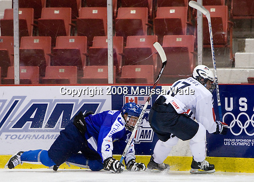 Mikael Aaltonen (Finland - 2), Ryan Bourque (US - 17) - Team USA defeated Team Finland 3-2 to win the Four Nations Cup (Under-18 boys) on Saturday, November 9, 2008 in the 1980 Rink in Lake Placid, New York.