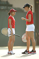 25 January 2007: Jessica Nguyen and Lindsay Burdette during Stanford's 7-0 win over UC Davis at the Taube Family Tennis Stadium in Stanford, CA.