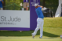 Gary Woodland (USA) watches his tee shot on 10 during round 2 of the WGC FedEx St. Jude Invitational, TPC Southwind, Memphis, Tennessee, USA. 7/26/2019.<br /> Picture Ken Murray / Golffile.ie<br /> <br /> All photo usage must carry mandatory copyright credit (© Golffile | Ken Murray)