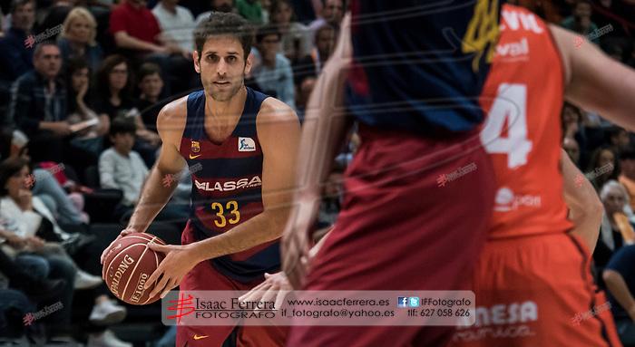 Endesa League 2016-2017.<br /> Valencia Basket Club vs FC Barcelona Lassa.<br /> Fuente de San Luis Pavillion (aka La Fonteta).<br /> April 16, 2017.<br /> Valencia - Spain.