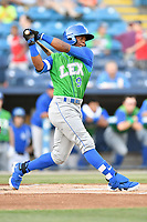 Lexington Legends center fielder Khalil Lee (9) swings at a pitch during a game against the  Asheville Tourists at McCormick Field on May 31, 2017 in Asheville, North Carolina. The Tourists defeated the Legends 12-5. (Tony Farlow/Four Seam Images)
