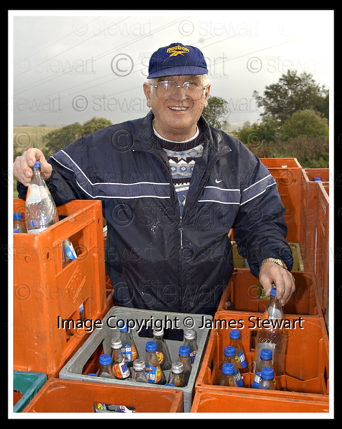 05/03/2008    Copyright Pic: James Stewart.File Name : sct_jspa01_robert_simpson.ROBERT SIMPSON WHO IS GIVING UP  COLLECTING UNWANTED BARRS LEMONADE BOTTLES FOR CHARITY.....James Stewart Photo Agency 19 Carronlea Drive, Falkirk. FK2 8DN      Vat Reg No. 607 6932 25.Studio      : +44 (0)1324 611191 .Mobile      : +44 (0)7721 416997.E-mail  :  jim@jspa.co.uk.If you require further information then contact Jim Stewart on any of the numbers above........